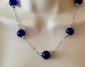 Vintage Cobalt Glass Necklace, Blue Cobalt and Sterling Necklace by Lucy Isaacs