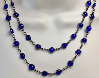 SALE Vintage Blue Cobalt Glass Crystal Chain Long Swarovski Necklace Lucy Isaacs