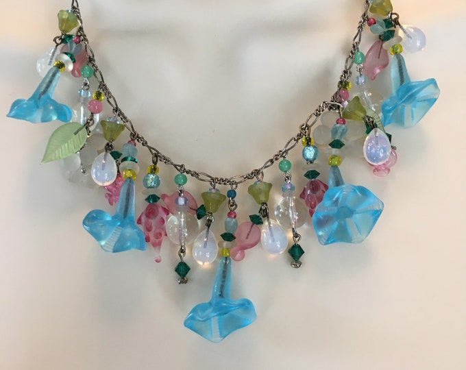 Vintage Aqua Trumpet Flower Necklace, Vintage Glass Flower Necklace by Lucy Isaacs
