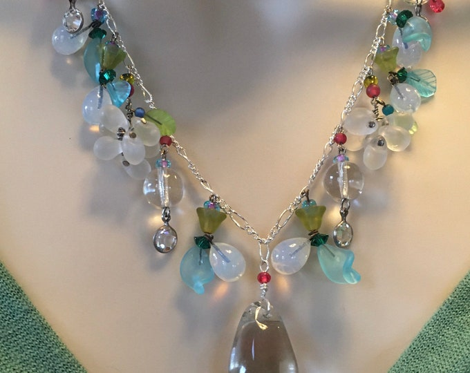 Vintage Lamp work Necklace, Vintage Necklace, Crystal and Sterling Necklace