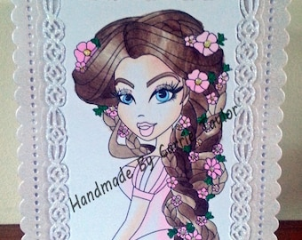 Handmade A6 Size Elegant Style Card With SSD Cinderella Digi Image Suitable For Any Occasion