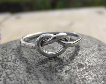 Handmade, Chunky, Sterling Silver, 1.5mm, Love Knot, Friendship Ring, Promise, Minimalist,  Bridesmaids Gift, Valentines gift, Simple ring
