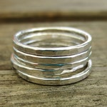 Stacking Ring Set, Set of 5 hammered rings, sterling silver, Handmade ring , hammered rings, minimalist ring, jewellery gift, simple rings