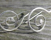silver round spiral earri...