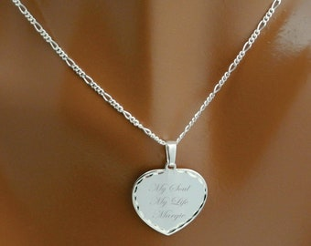 Personalized Silver Heart Necklace, Sterling Silver Heart Necklace, Custom Engraved Necklace, Silver Heart Pendant, Valentine's Day Gift