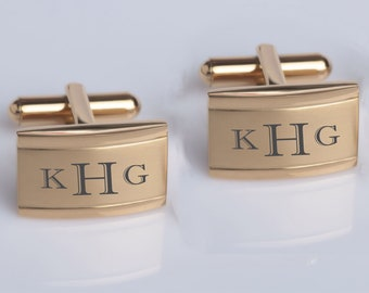 Gold Oval Cufflink Groomsmen Gifts Engraved Tie Clip Buy 6 Get 7th Free Peronalized Cufflinks Monogrammed Cufflink Tie Clip Set