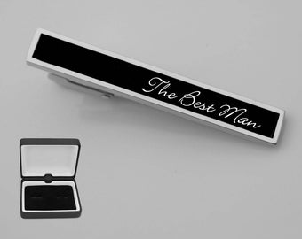Silver Toned Etched Baseball Glove Square Tie Clip