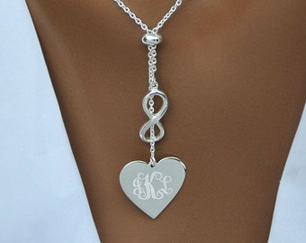 Personalized Heart Charm, Sterling Silver Heart Infinity Necklace, Engraved Heart Necklace, Infinity Necklaces, Valentine's Day Gift