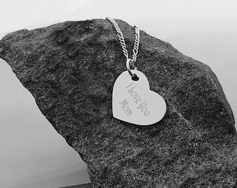 Personalized Heart Necklace, Silver Heart Pendant, Engraved Heart Necklace, Custom Silver Heart Necklace, Personalized Bridesmaids Gifts