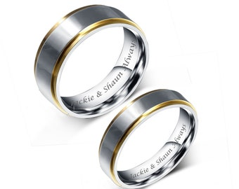 9af7b9279a Engraved Promise Rings, Personalized Promise Rings, Two Tone Silver Gold Ring  Set, Couple's Ring Set Engraved, Engraved Wedding Bands,