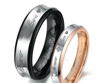 0222694372 Engraved Ring, Personalized Ring, Couples Ring Set, Gold & Black Forever  Love Ring Set, His And Hers Ring Set, Custom Ring Set, Promise Ring