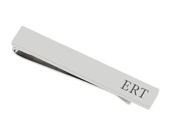 Sterling silver tie slide Silver tie bar Matte satin finish handmade in the UK