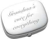 Personalized Pill Box, Engraved Pill Case, Custom 3 Compartment Pharmaceutical Pocket Holder Compact Mirror, Monogram Pill Box and Mirror