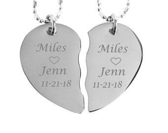 99a24f934f BFF Necklace, Couples Jewelry, Personalized Silver Broken Heart Necklace,  Split Heart Necklace Custom Engraved Free, Anniversary Necklaces