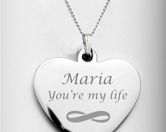 955c0698f8 Personalized Silver Heart Necklace - Engraved Heart Monogram Necklace -  Bridesmaid Necklaces, Best Friend Custom Engraved Free
