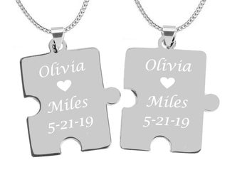 7d691061c6 Puzzle Piece Necklaces, His And Hers Necklaces, Couples Jewelry, Silver  Puzzle Piece Necklace Set Engraved Free, BFF Necklaces, Best Friends