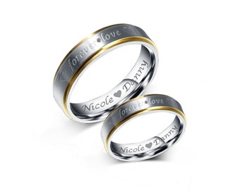 744555bfd9 Personalized Rings, Engraved Rings, Gold & Silver Two Tone CZ Ring Set, Personalized  Promise Rings, Forever Love Rings, Couple's Ring Sets