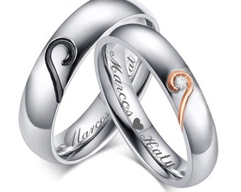 54fd2eaa89 Personalized Stainless Steel Sweetheart Couple's Ring Set Custom Engraved,  Broken Heart Ring, Promise Ring