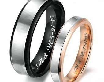 001bb22895 Personalized Black & Rose Gold Sweetheart Couple's Ring Set Custom Engraved,  Promise Ring