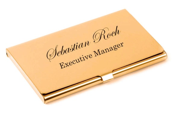 Personalized business card holder high polished rose gold etsy image 0 colourmoves