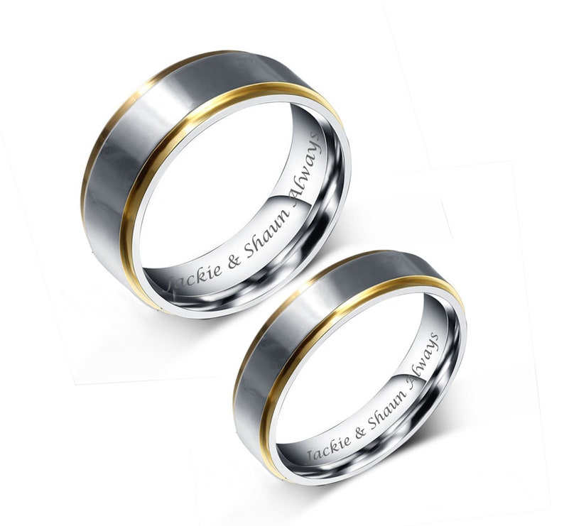 Engraved Promise Rings Personalized Promise Rings Two Tone image 0