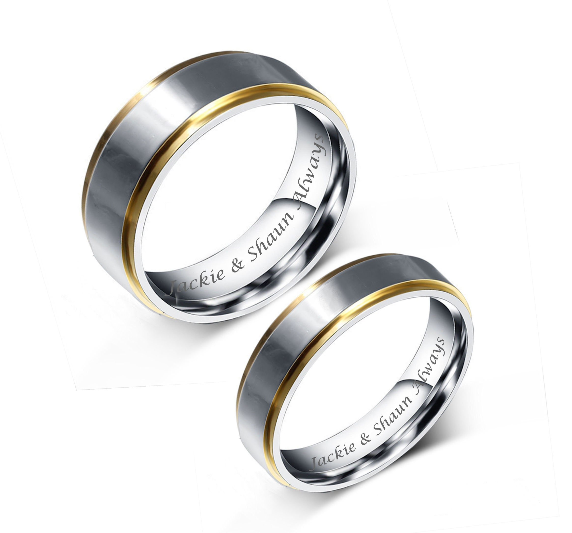 engraved promise rings personalized promise rings two tone. Black Bedroom Furniture Sets. Home Design Ideas