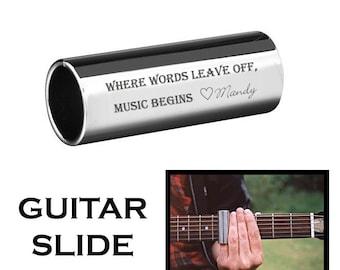 Personalized Stainless Steel Guitar Slide Custom Engraved Free