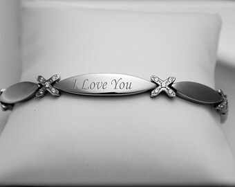 Personalized Rhinestone CZ Silver XOXO Silver Bracelet Engraved Free