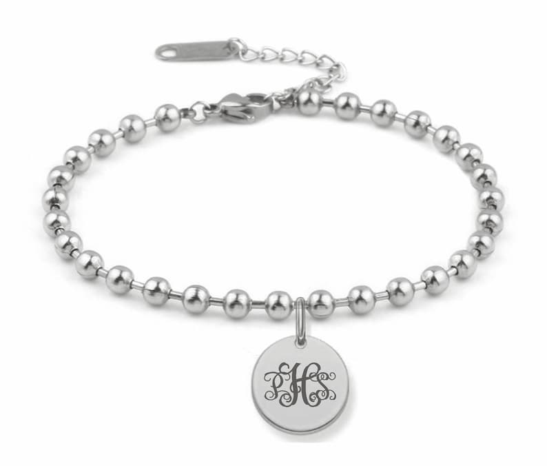 e5ba38514c106 Personalized Stainless Steel Circle Charm Bracelet Engraved Free, Charm  Bracelet, Bridesmaids Gifts, Engraved Bracelet