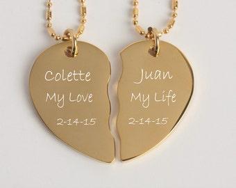 Personalized Gold Broken Heart, Best Friends Necklace, Couples Necklace Set, Engraved Necklaces, Personalized Necklace, Split Heart Necklace