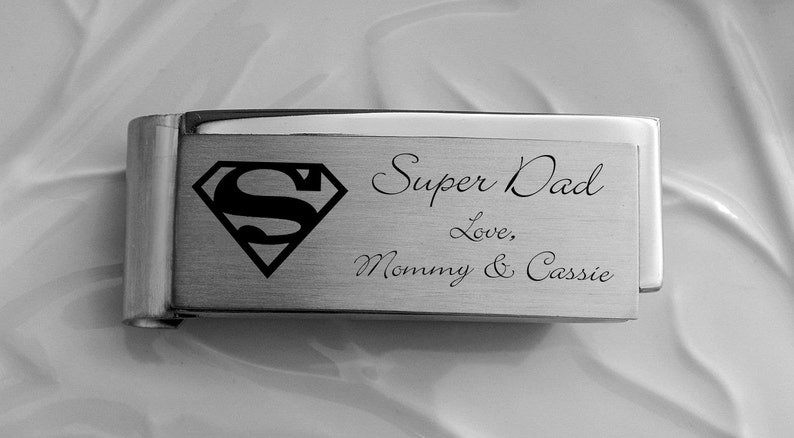 Best Man Engraved Square Cufflinks Dollar Money Clip Gift Set