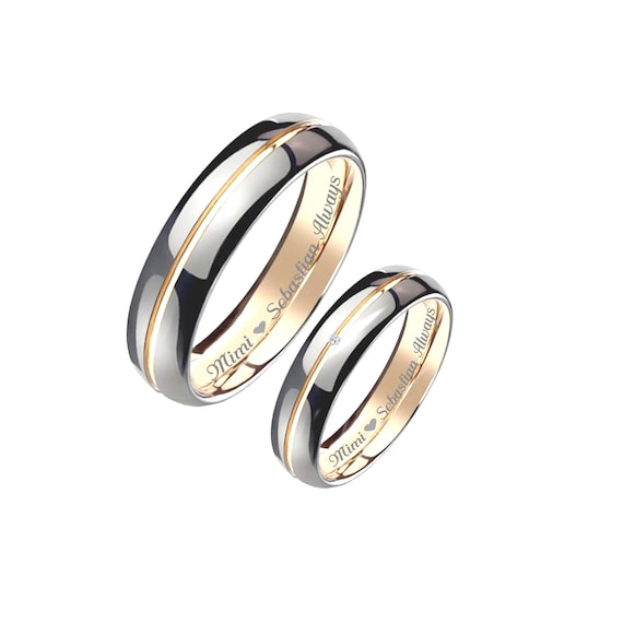 Engraved Promise Rings Personalized Promise Rings Two Tone Etsy