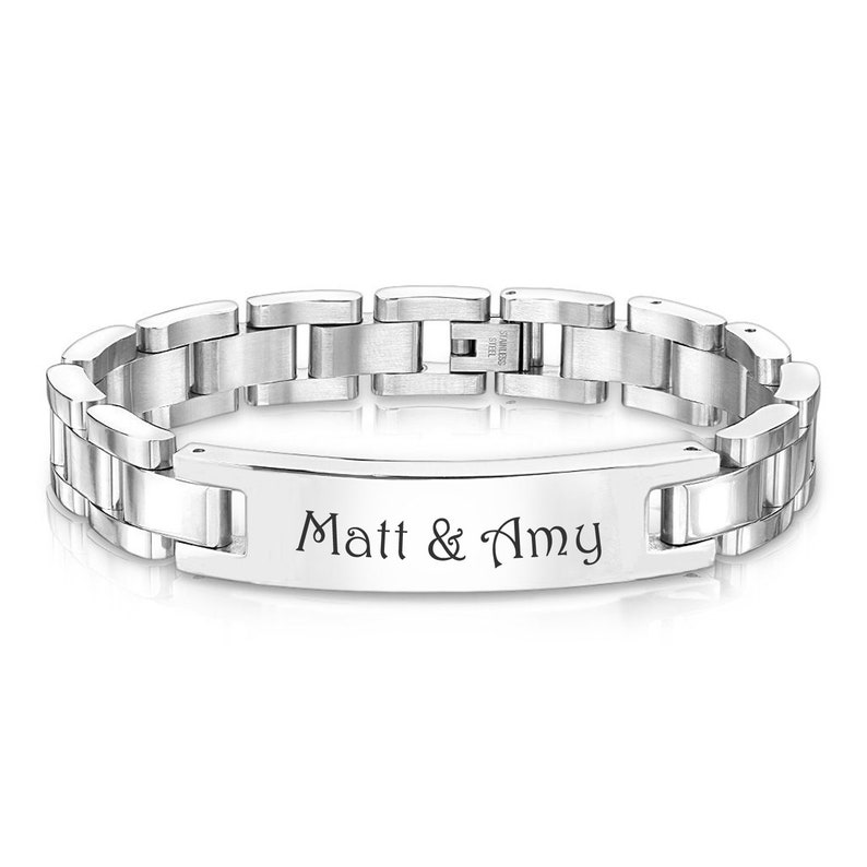 1cf5ac4fc4b05 Personalized Silver Men's Bracelet High Polished With Brushed Inlay  Engraved Free