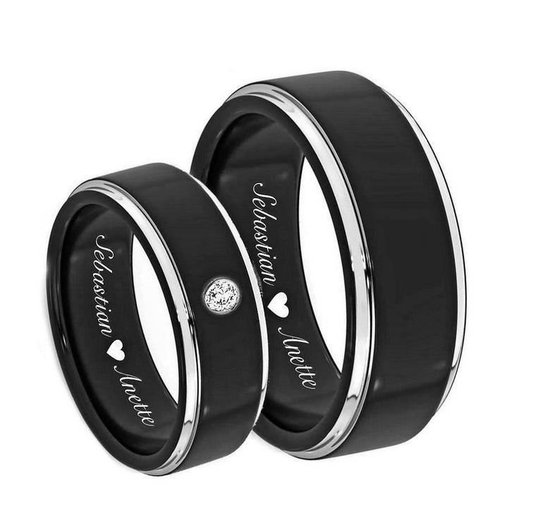 Engraved Promise Rings Wedding Band Custom Engraved Ring Silver Polished Beveled Edge Ring Personalized Ring Engraved Wedding Ring