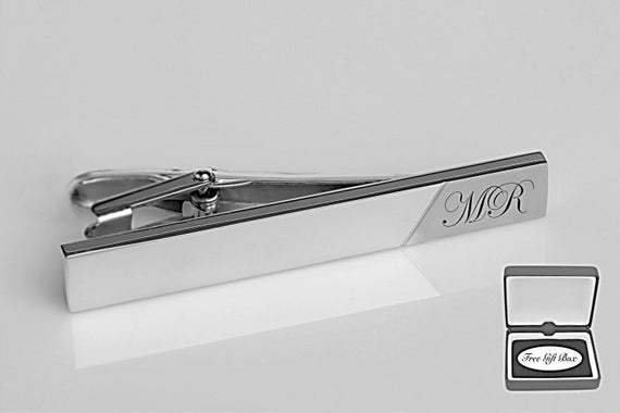 MONOGRAMMED SILVER BRUSHED STAINLESS STEEL TIE CLIP CUSTOM ENGRAVED  FREE