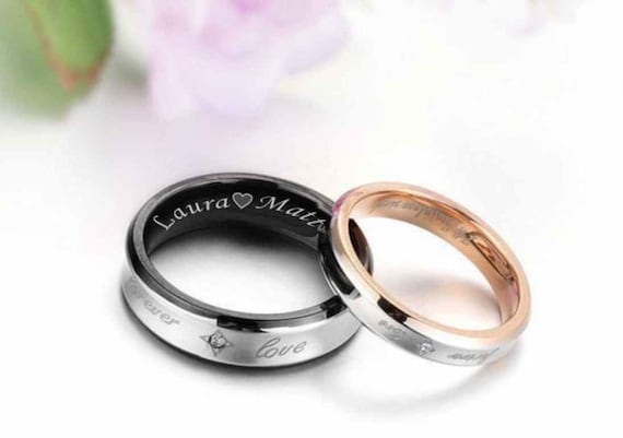 engraved promise ring personalized sweetheart couple 39 s etsy. Black Bedroom Furniture Sets. Home Design Ideas