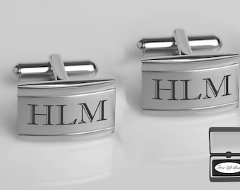 Personalized Cufflinks, Engraved Cufflinks, Silver Cufflinks, Groomsmen Gift, Wedding Favor, Gift For Men, Engraved Free, Buy 6 Get 7th Free