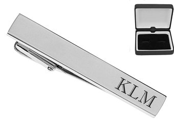 Personalized Tie Clip, Silver High Polished Tie Clip Custom Engraved Free, Groomsman Gifts, Wedding Accessories, Father's Day Gift