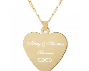 Personalized Gold Heart Necklace, Engraved Heart Necklace, Gold Heart Pendant, Bridesmaid Necklaces, Engraved Necklace, Valentine's Day Gift