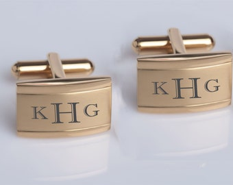 Personalized Cufflinks, Engraved Cufflinks, Gold Cufflinks, Monogrammed Cufflinks, Groomsman Gifts, Wedding Gifts - Buy 6, Get 7th Free