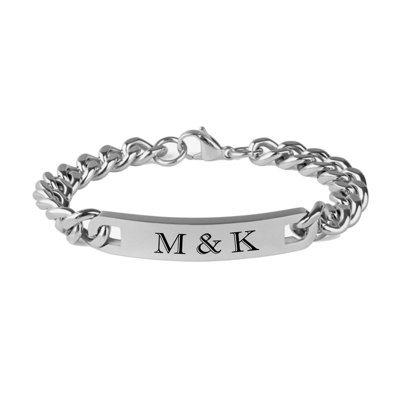 Ships from USA Personalized Black Stainless Steel Curb Link ID Bracelet Engraved Free