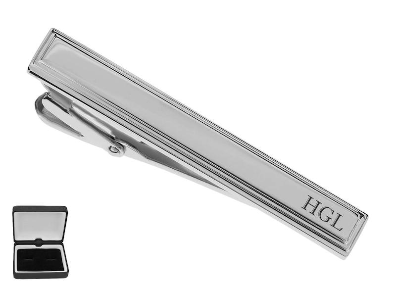 01f6375d384a Personalized Tie Clip Silver Tie Clip Engraved Tie Clip | Etsy