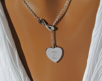 Personalized Silver Heart Infinity Necklace - Engraved Monogram Necklace - Infinity Necklaces, Best Friend Custom Engraved Free