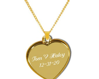 Personalized Heart Pendant, Gold Heart Necklace, Custom Engraved Necklace, Wedding Favors, Bridesmaids Gifts, Custom Heart Necklace