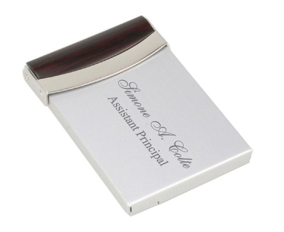 PERSONALIZED HIGH POLISHED SILVER BUSINESS CARD HOLDER /& PEN SET CUSTOM ENGRAVED