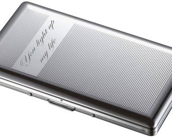 Personalized Cigarette Case, Double Sided With Mirror, Engraved Cigarette Case, Custom Engraved Pocket Cigarillo Holder, Customized Personal