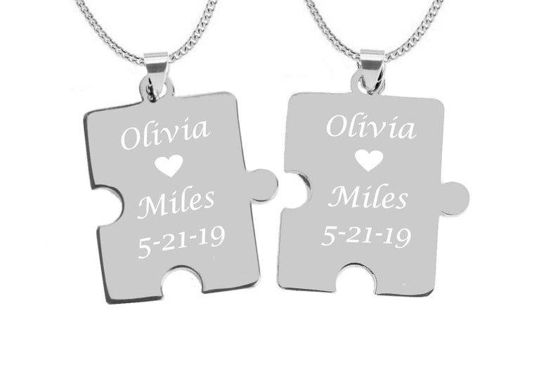 7b862ecb55 Puzzle Piece Necklaces His And Hers Necklaces Couples   Etsy