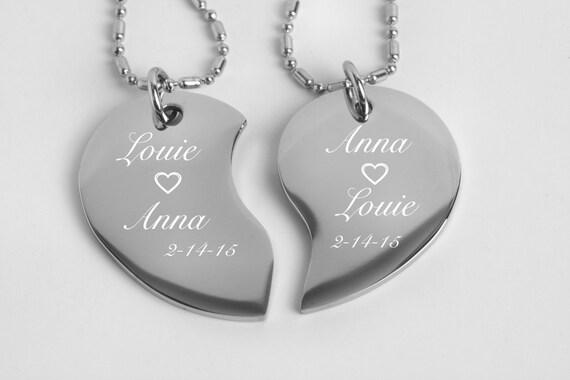 Personalized Broken Heart Couples Jewelry Silver Split | Etsy