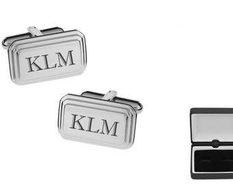 Personalized Cufflinks, Engraved Cufflinks, Silver Cufflinks, Custom Cufflinks, Monogrammed Cufflinks, Wedding Gifts - Buy 6, Get 7th Free