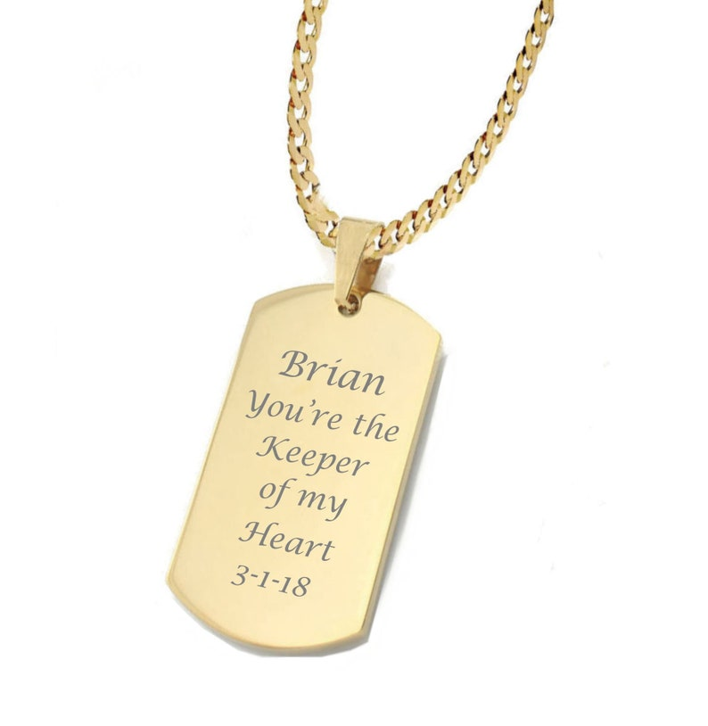 87a6b271f0f2 Custom Dog Tag Gold Stainless Steel Dog Tag Necklace Custom   Etsy